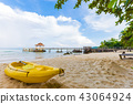 tropical white sand beach with boat in island 43064924