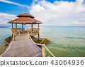 Wooden bridge with blue sky cloud sunrise in sea 43064936