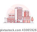 Hospital building - modern thin line design style vector illustration 43065926