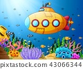 Illustration of Cartoon submarine underwater 43066344