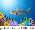 Cartoon shark fish in the beautiful underwater 43066346