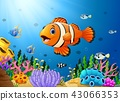 Illustration of Cute clown fish cartoon in the sea 43066353