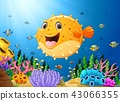 Cartoon puffer fish with sea life 43066355
