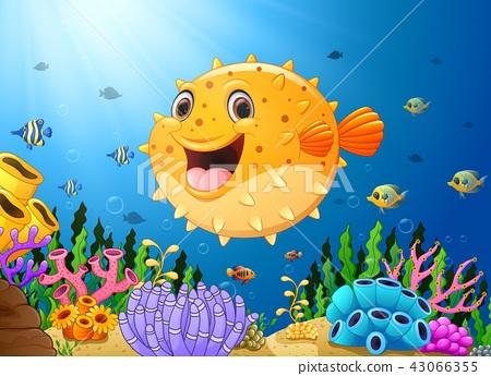 Cartoon puffer fish with sea life 43066355