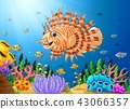 Cartoon scorpion fish in the sea 43066357