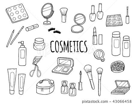 Illustration set of cosmetics (monochrome) 43066458