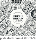 Bakery top view frame. Hand drawn vector illustration with bread and pastry. Retro design template 43066924