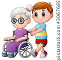 Cartoon boy with grandma in wheelchair 43067685