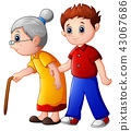 Boy helps old lady and helping her to walk 43067686
