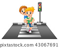 Cartoon kids running on crossing the street 43067691