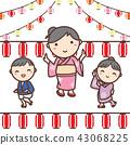 家庭的例證在yukata跳舞穿戴了在夏天節日 43068225