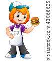 Fast food waitress girl showing a hamburger 43068625
