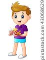 Cartoon boy with a tray of fast food 43068629