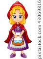 Cartoon little red riding hood 43069816