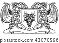 Heraldic Crest Coat of Arms Dragon Shield Emblem 43070596