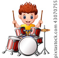 Vector Illustration of Cartoon boy playing a drums 43070755