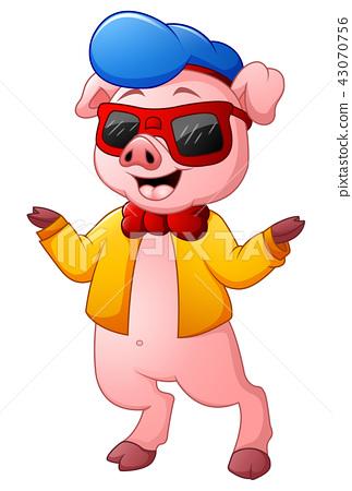 Vector Illustration of Cute pig cartoon  43070756
