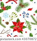 Seamless pattern with winter plants. 43070872