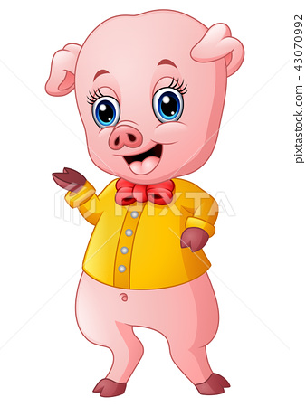 Cute pig cartoon presenting 43070992