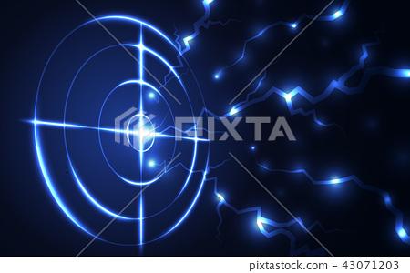 Blue radar target shooting range black background 43071203