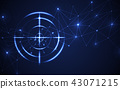 Blue radar target shooting range black background 43071215