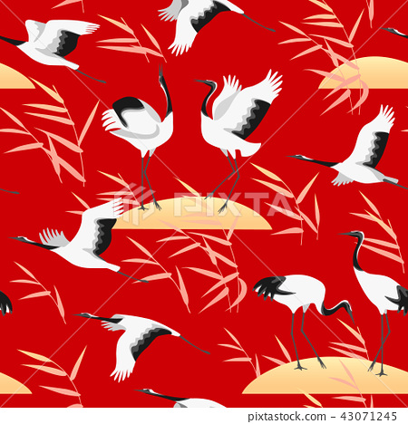 Seamless Pattern with Birds and Reed on Red 43071245