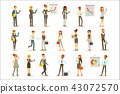 Business, Finance And Office Employees In Suits Busy At Work Set Of Cartoon Businessman And 43072570