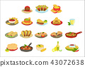 Mexican Food Signature Dishes Illustration Set 43072638