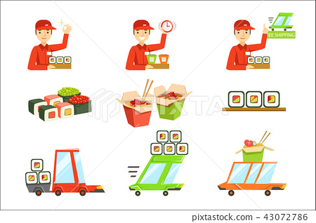 Asian Food Fast Delivery Service Process Info Illustration 43072786