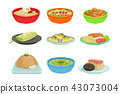 Asian Food Famous Dishes Illustration Set 43073004