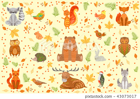 Forest Animals Covered In Ornamental Patterns Illustration 43073017