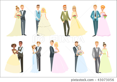 Couples Posing Together On Wedding Day Bright Color Cartoon Simple Style Flat Vector Set 43073056