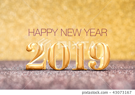 happy new year 2019 year  at sparkling gold 43073167