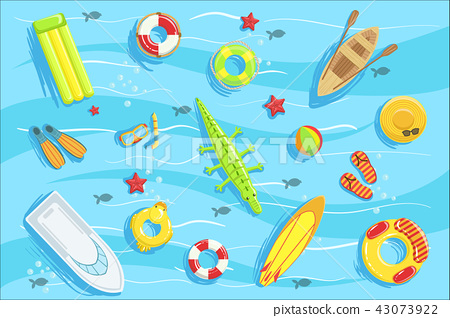 Water Toys And Other Objects From Above Illustration 43073922