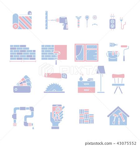 Home Improvement silhouettes icon set 43075552