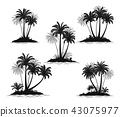Islands with Palm Trees Silhouette 43075977