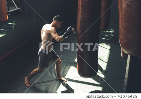 Sportsman is training jab kick in gym 43076428