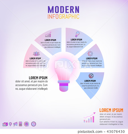 Light bulb inforgraphic template for business idea 43076430