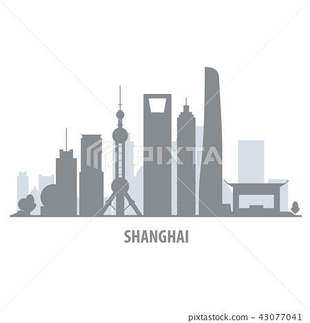 Shanghai city skyline - cityscape silhouette 43077041