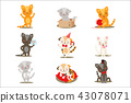 Little Girly Cute Kittens Cartoon Characters Different Activities And Situations Set Of Vector 43078071