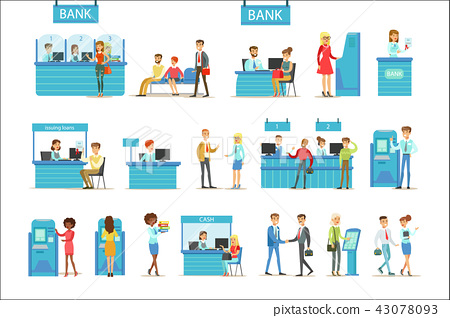 Bank Service Professionals And Clients Different Financial Affairs Consultancy, ATM Cash 43078093