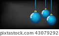 blue colored christmas balls on a black background 43079292