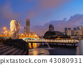 Merlion and skyscrapers buildings at sunrise 43080931