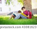 Children with rucksacks standing in the park near school 43081623