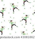 Seamless Pattern: Climbing Young Woman. 43081662