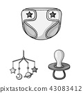 Birth of a baby monochrome icons in set collection for design. Newborn and accessories vector symbol 43083412