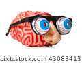 Rubber brain with funny nose and glasses. 43083413