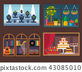 Vector flat design restaurant shops facade storefront market building architecture showcase window 43085010
