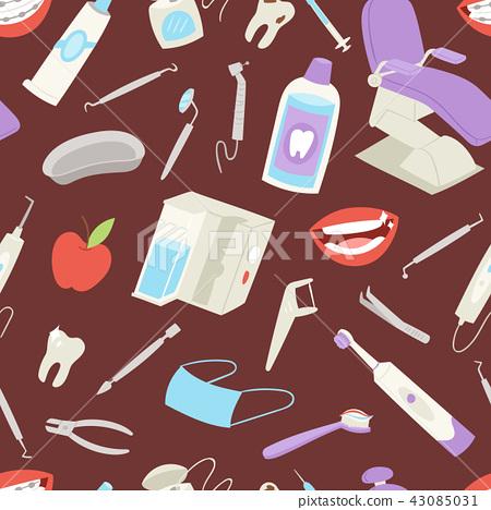 Medical dental tools seamless pattern tooth apple medicine dentist health hygiene background vector 43085031