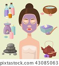Vector illustrations of beautiful woman spa treatment, beauty procedures wellness icons. 43085063